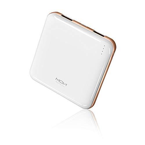 MOXNICE Powerbank 10000mAh Power Bank, Super Leicht Slim Externer Akku mit 2 Ausgänge für iPhone, iPad, Samsung, Huawei, Geschenk für Männer, Frauen (Weiß)