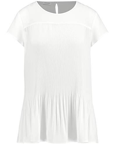 Gerry Weber Damen Blusenshirt Mit Plisseefalten Figurumspielend Off-White 40