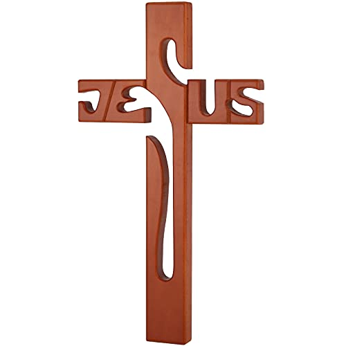Wooden Wall Cross Home Decor, Holy Wall Hanging Cross, Easter Religious Gift Spiritual Cross, 15.4 inch for Home Decor