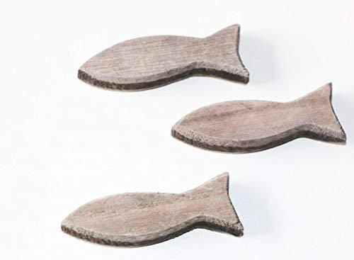 RiloStore 24 STK Holzfische GRAU 6,5cm Shabby Chic Holz Fische Namenskarten Tischschmuck Tischdeko Kommunion Konfirmation Maritime Deko Ostsee Nordsee Taufe Holzfisch Deko Fische maritim Nautica …