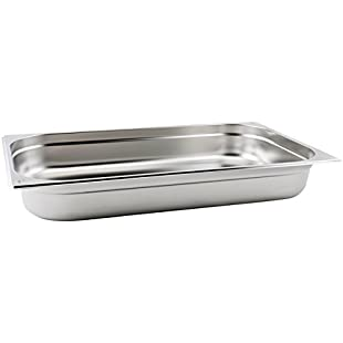 Gastronorm Pan 1/1 Full Size 65mm Deep | Genware Stainless Steel Gastronorm Pan for Buffet Catering | Ideal for Cooking, Storage, Re-heating, Transportation, Blast Chilling & Presentation