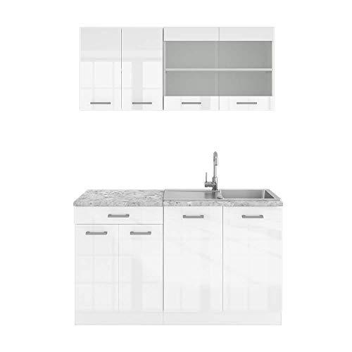 Vicco Küchenzeile Single Einbauküche 140 cm Küchen Hochglanz R-LINE
