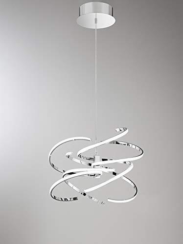 PERENZ Lampada da soffitto con Luce LED 100W 8000Lm 3000K Lampadario diametro 60 cm in Metallo verniciato Bianco Altezza regolabile 150 cm