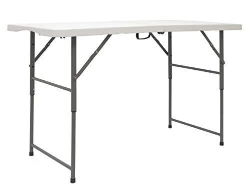AMANKA - Mesa Plegable para jardín, 120 x 60 cm, Altura Regulable, Color Blanco