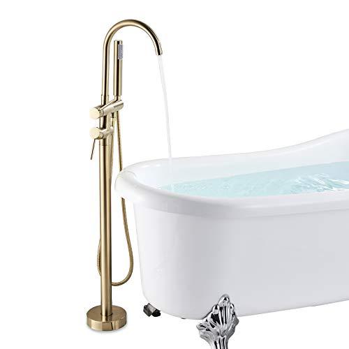 Suguword Wannenarmatur Freistehende Wannenfüll Armatur Doppelhebel Badezimmer Dusche Set Badezimmerarmatur Mit 150cm Handbrause Messing Gebürstetes Gold