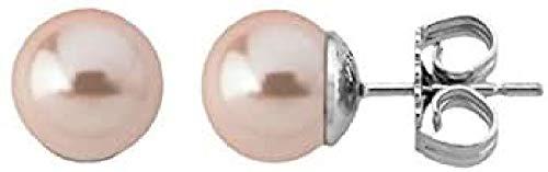 Majorica LFYM8426881534502 - Pendientes en plata de ley 925 rodiada, perlas rosas redondas de 8 mm