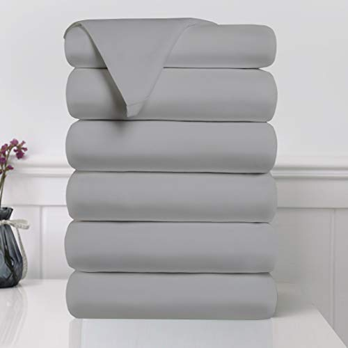 EDILLY Flat Sheets Set (6 Pack) Breathable Super Soft Brushed Microfiber Bedding Sheets, Fade, Shrink, Wrinkle Resistant, Great for Home, Salons, Hotel and Hospital Use - Twin Size Gray