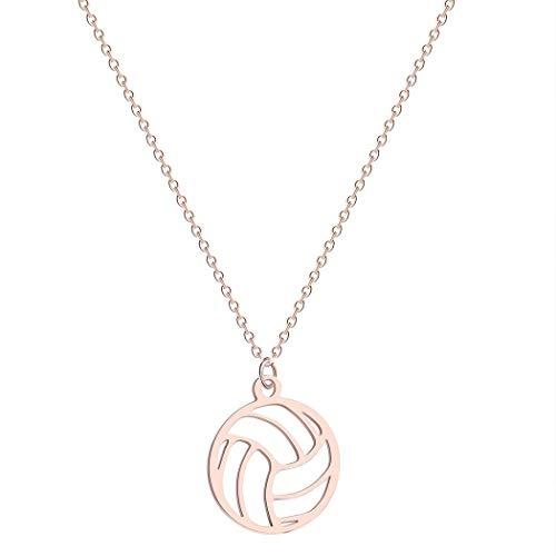 Collana con ciondolo piccolo e rotondo a forma di palla da pallavolo, collana per donne/uomini, ciondolo a tema sportivo, pallavolo, regalo per appassionati e Metallo, colore: Oro rosa, cod. PA649C