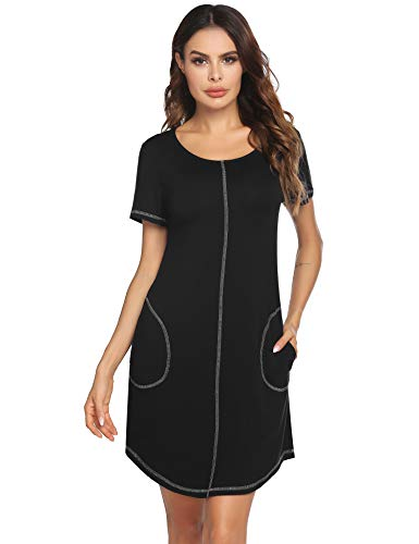 Ekouaer Nightshirts for Women Sleepwear Short Sleeve Nightgowns Lady Sleep Shirt Soft Loungewear S-XXL