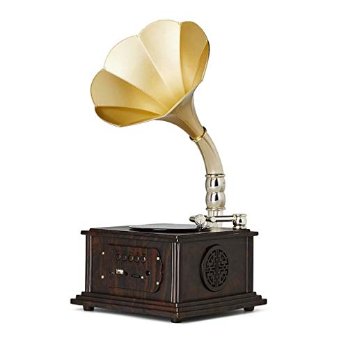 Hejok Gramophone Retro Bluetooth Speaker With Subwoofer, Vintage Phonograph Shape, Aluminum Alloy Copper Housing