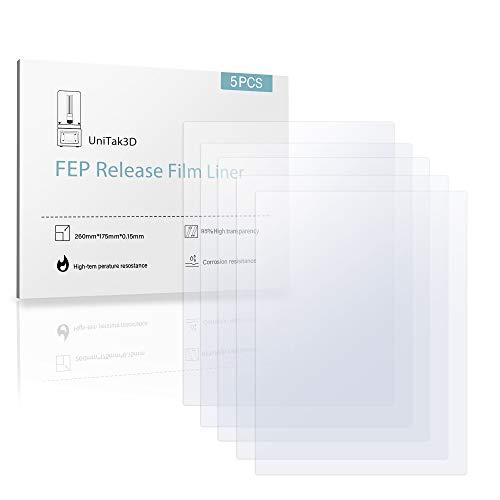 UniTak3D Foglio di FEP Film, 5Pcs 260 * 180 * 0,15mm per Anycubic MONO X, per Elegoo Saturn Stampanti 3D UV DLP LCD