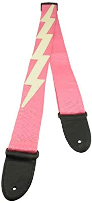 Pink Poly Guitar Strap with White Lightning Bolt