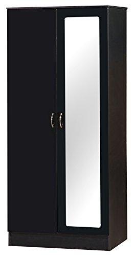 Alpha Deux Tons Noir laqué 2 Portes Armoire avec Miroir unité de Meubles de Chambre à Coucher
