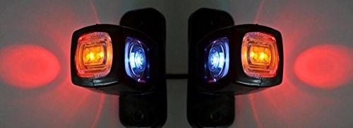 2luces traseras de posición lateral y de contorno (24 V, 12 V) para remolque, camioneta, camión, autocaravana, color naranja, blanco y rojo