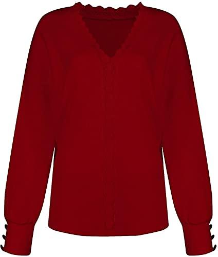 DSKEFE Las mujeres elegantes suéteres bohemios de encaje de manga larga superior waffle Knit Jumper Casual botón Pullover camisa con cuello en V Sudaderas, Vino, XXL