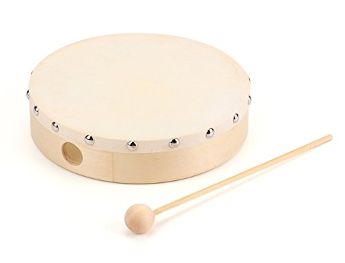 Foraineam 8 Inches Hand Drum Goatskin Drumhead Wood Frame Drum with...
