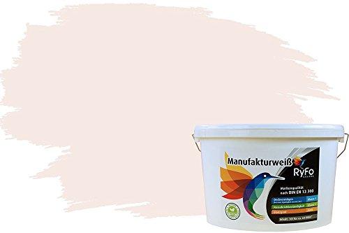 RyFo Colors Bunte Wandfarbe Manufakturweiß Perlweiß 10l - weitere Weiß Farbtöne und Größen erhältlich, Deckkraft Klasse 1, Nassabrieb Klasse 1