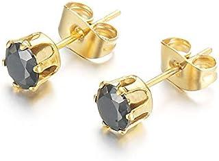 Stainless Steel Crystal Earrings For Women Men Male Piercing Ear Stud Earrings Femme Jewelry