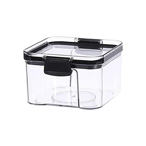 Caja hermética con tapa, transparente para alimentos, conservación de cereales, frutas, secos, plástico, caja de azúcar en polvo (430 ml)