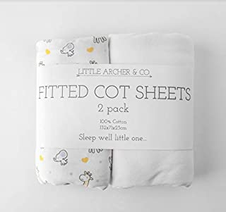 Little Archer & Co.™ 2 Pack 100% Cotton Fitted Cot Sheets, Soft and Breathable, Universal Size of 132cmx72cmx23cm