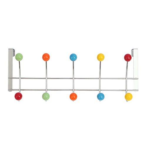 Homieco Appendiabiti sopra la porta con 10 ganci colorati Portaoggetti per dormitorio in acciaio inossidabile Organizer per abiti per asciugamani