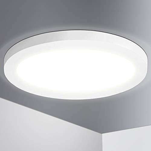 Lumare LED Deckenleuchte Dimmbar 18W Extra Flach rund 1400lm 225mm ersetzt 120W IP44 Deckenlampe für Wohnzimmer Badezimmer Küche Flur Keller Bad Wandleuchte Einbaustrahler o. Aufbau modern warmweiß