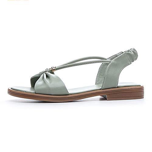 Fbewan para Mujer Patadas Deporte Playa de Las Sandalias Sandalias Planas Casual Punta Abierta del Tobillo del Gladiador Zapatos de Las Sandalias,Verde,40