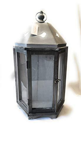 Countryfield Holz Laterne Landhaus schwarz H58cm Shabby Vintage Design Glas Metall Windlicht