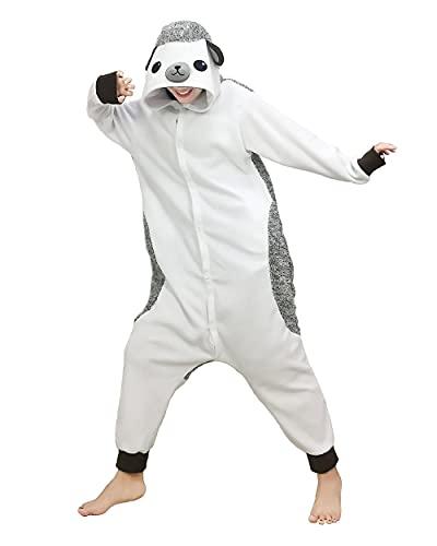 WEIYIing Pijamas de una Pieza Unisex para Adultos, Pijamas de Animales, Ropa de Dormir, Pijama de Dibujos Animados, Pijamas, Disfraz de Cosplay-Blanco_SG