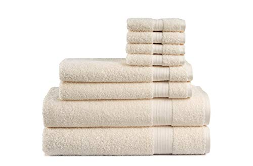 Cotton Cozy Indulgence 600 GSM Luxury 8-Piece Towel Set: 2 Bath Towels , 2 Hand Towels and 4 Washcloths, 100% Cotton, Amercian Construction, Soft,...