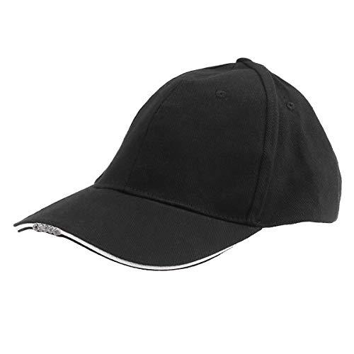 LIOOBO LED Baseballmütze Hip Hop Hut Einstellbar Scheinwerfer Hut für Jagd Angeln Camping Wandern Outdoor (Schwarz)