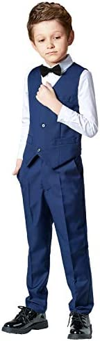Toddler Suits for Boys Wedding Suit Dress Shirt Navy Blue Vest and Pants Sets for Boy with Bow product image