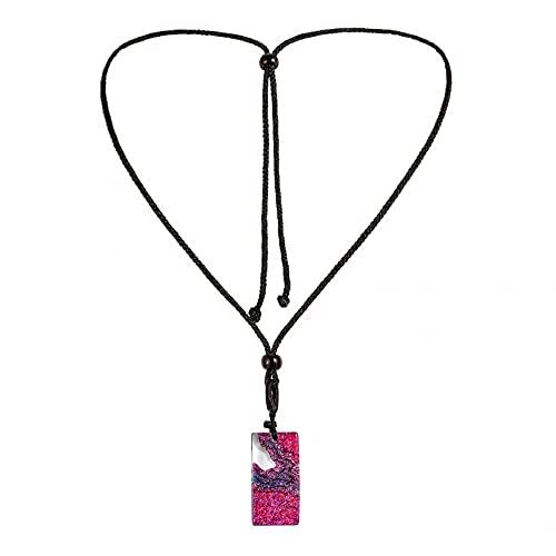 N/A Halskette Beliebte Chitong Danxia Crystal Square Anhänger Unterwasser Coral Island Landschaft Wild Resin Halskette Muttertagsgeschenk