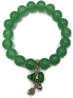 Bracelet Lucky Jade Stone Feng Shui with Green Tiger Eye Stone Wu Lou for Attract Money and Wealth