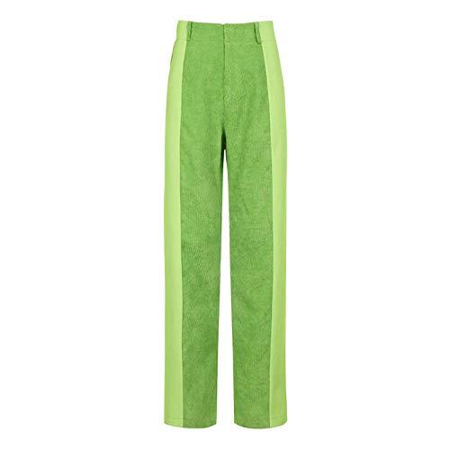 Pantalones rectos de moda para mujer-Pantalones casuales de bloque de color suelto-Pantalones de pana de color sólido