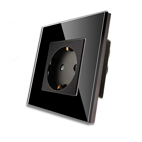 CNBINGO Enchufe Simple 16A con vidrio negro templado,protección infantil,material ignífugo,Enchufe Schuko estándar de la UE