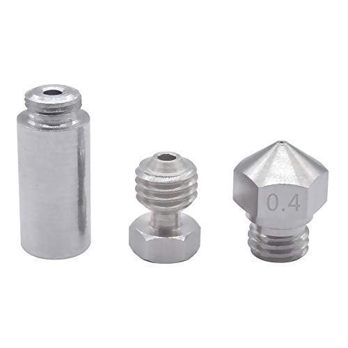 XIAOMINDIAN MK10 All Metal for Hotend Kit M7 stainless steel or copper Nozzle 0.4mm & Aluminum throat & connector for 3D printer onderdelen Printer Parts (Size : Copper 0.4mm nozzle)