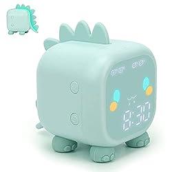 Kids Alarm Clock, Digital Alarm Clock for Kids Bedroom, Cute Dinosaur Bedside Clock Children's Sleep Trainier, Wake Up Light & Night Light with USB Alarm Clock for Boys Girls Birthday Gifts(Green)