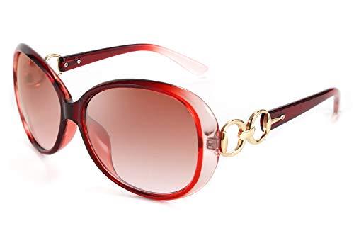 FEISEDY Gafas de sol de diseño UV400 de protección retro de gran tamaño para mujer B2601