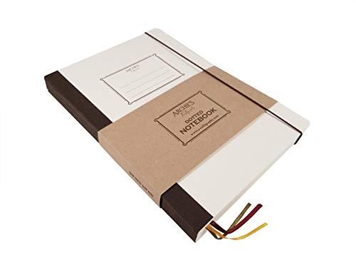Archie's Calligraphy Notizbuch mit Gummibandverschluss, Notizheft, Tagebuch, Notebook, mit Rückentasche, Retro Design, B5 170x242 mm, 240 Seiten (120 Blatt), Gepunktet
