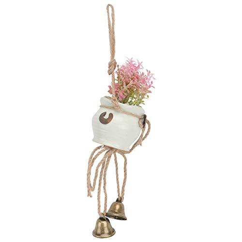 ABOOFAN Künstliche Sukkulenten Pflanzen Japanischen Wind Chime Mini Keramik Töpfe Hause Erhalten Zauberstab Bauernhaus Hängen Dekor Rosa