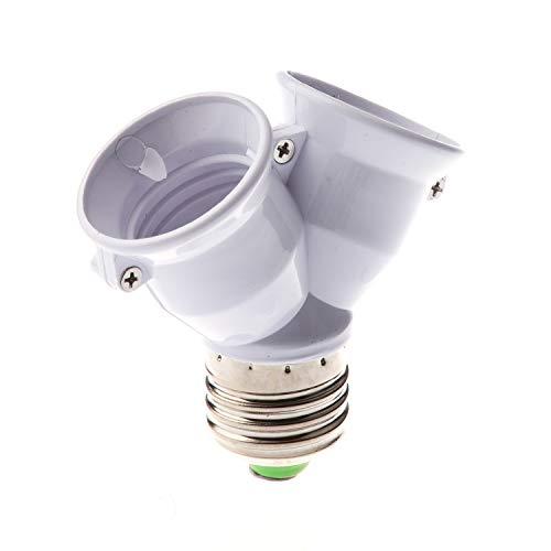 Timagebreze Base Enchufe de Divisor Convertidor Adaptador para Bombilla Lampara LED E27 1 a 2 E27