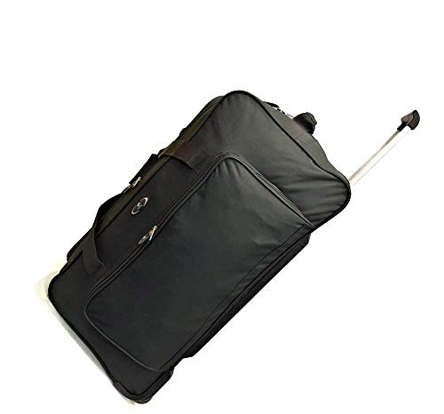 31' Extra Large Durable Lightweight Luggage 2 Wheeled Holdall Travel Trolley Travel Bags Suitcase Holiday Weekend Bag 125 litres (31' Extra Large, Plain Black)