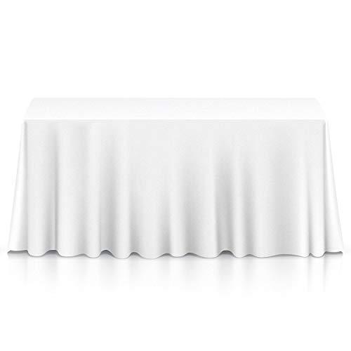 Blanco Rectangular Algodón Poliéster Mantel Cubierta para Boda, Comedor y Fiesta Cumpleaños 90 x 132 Inches por Boda Suministro – Individual
