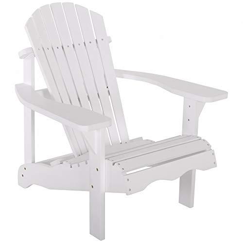 Raburg Gartensessel SUNJA Premium in WEIß - Akazie Hartholz, lackierter XXL Design-Gartenstuhl Canadian Adirondack Deck-Chair/Hamburger Alsterstuhl, belastbar bis 150 kg