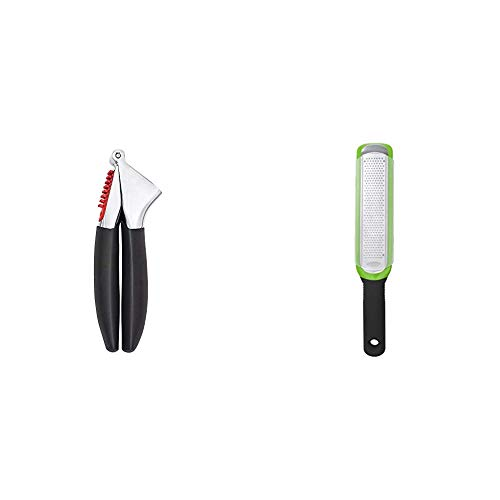 OXO Good Grips Soft-Handled Garlic Press,Black,One Size & Good Grips Etched Zester and Grater,Green,One Size
