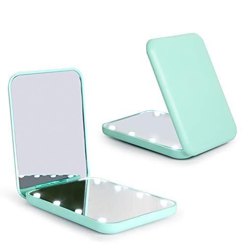 Wobsion Espejo plegable LED con interruptor magnético de 2 lados 1x/3x, espejo para el maquillaje de viaje, espejo de bolsillo para bolso, espejo de maquillaje con luces LED, regalo para ella verde