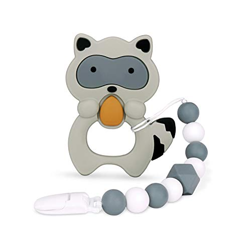 Baby Teething Toys, Teething Pain Relief, Silicone Teether with Pacifier Clip Natural BPA Free Raccoon for Freezer - Best Newborn Shower Gifts for Trendy Boy or Girl…