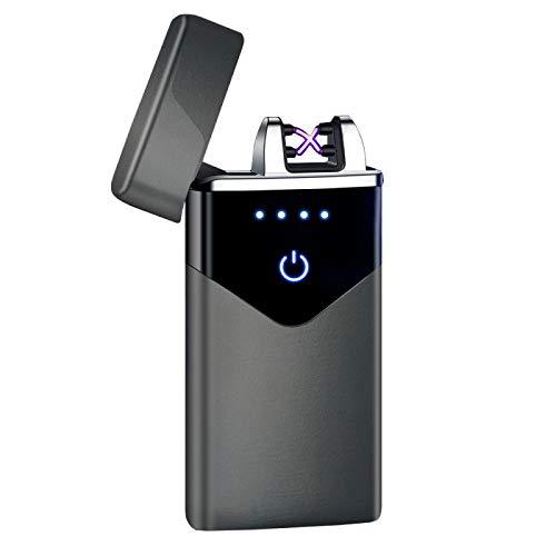 USB eléctrico encendedor dedo impresión táctil fuego plasma doble arco encendedor a prueba de viento Metal cigarrillos encendedores 020 negro