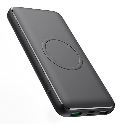 Wireless Powerbank 15W Wireless Charging 13800mAh, Kilponen 25W PD Fast Charging QC4.0 Externer Akku 4 Ausgänge + 2 Eingänge USB-C Schnellladung Tragbares Ladegerät für iPhone 12, Handy, Tablets, mehr